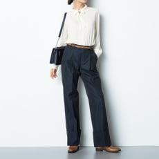 (股下丈68cm) スーピマコットン混 裾ダブルデザイン パンツ