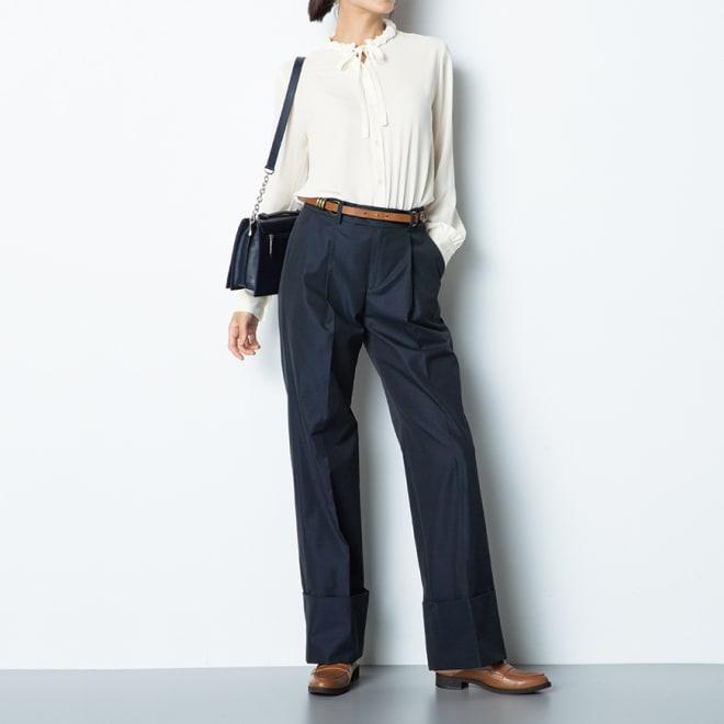 (股下丈68cm) スーピマコットン混 裾ダブルデザイン パンツ (イ)ネイビー コーディネート例