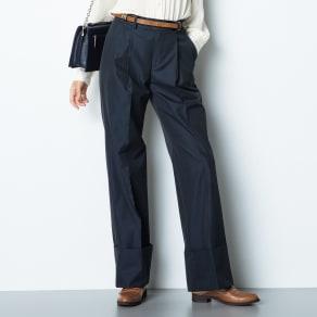 (股下丈74cm) スーピマコットン混 裾ダブルデザイン パンツ 写真