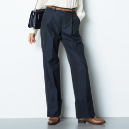(股下丈74cm) スーピマコットン混 裾ダブルデザイン パンツ (イ)ネイビー 着用例