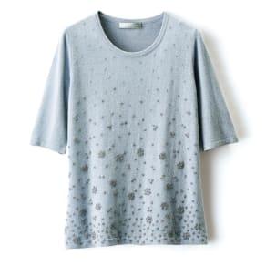 イタリア糸 ビーズ刺繍ニット 五分袖 プルオーバー 写真