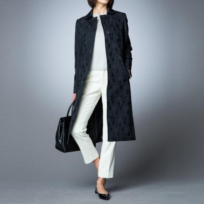 マトラッセジャカード ステンカラー コート コーディネート例