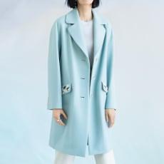 ラムウールメルトン ビジュー刺繍 コート