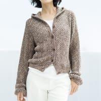 イタリア糸 リリヤーン メッシュ編み フーデッド カーディガン