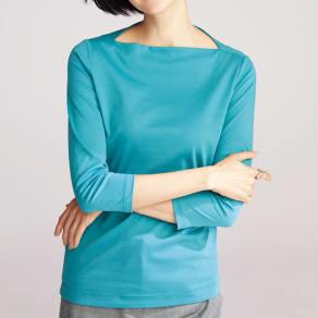 スビン綿 デザイン ボートネック Tシャツ 写真
