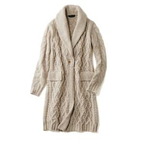 カシミヤシルクセーブル 模様編み ニットコート 写真