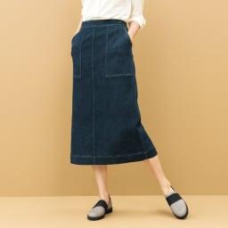 デニムダウンファブリック セミタイトスカート コーディネート例