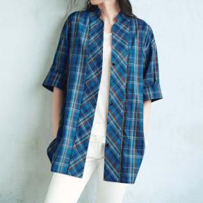 (L-3L) チェック柄スタンドカラー チュニックシャツ 写真