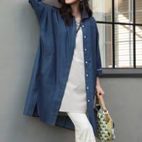 (3L-5L) ライトデニム ドルマンスリーブチュニックシャツ(大きいサイズ)