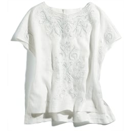 リネン カットワーク刺繍 ブラウス (イ)ホワイト