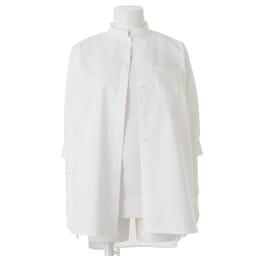 (L-LL) コットン混 チビスタンドシャツ(大きいサイズ) ※インナーは含まれません。
