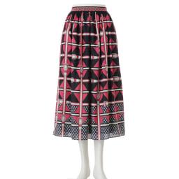 ベルトデザインプリントフレアスカート