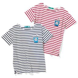 ジュースワッペン付き ボーダーTシャツ 左から(ア)ホワイト×ネイビー (イ)ホワイト×レッド