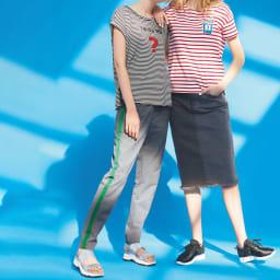 ジュースワッペン付き ボーダーTシャツ (右)ジュースワッペン付き ボーダーTシャツ ボーダーTはワンポイントでプレイフルに (イ)ホワイト×レッド コーディネート例