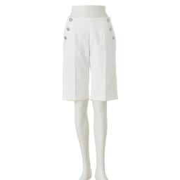 ボタン付き マリン風 ハーフパンツ(サイズ67) オフホワイト