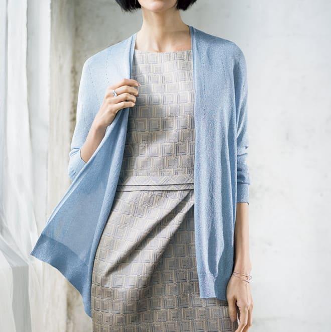 パラソル編み ラメ糸 ホールガーメント カーディガン 着用例