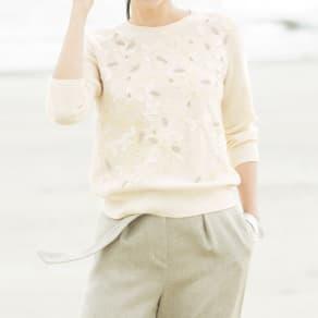 イタリア糸 モチーフレース&ビーズ刺繍 プルオーバー 写真