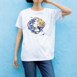スパンコール 刺繍モチーフ Tシャツ コーディネート例