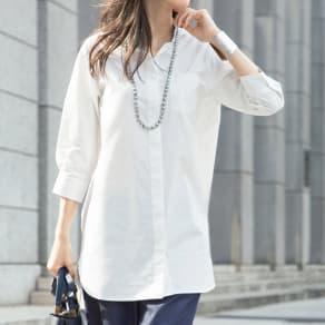 (L-LL) コットン混 チビスタンドシャツ(大きいサイズ) 写真