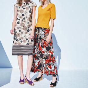 イタリア素材 フラワープリント ジャージーマキシスカート 写真
