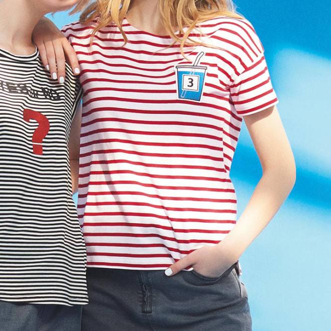 ジュースワッペン付き ボーダーTシャツ (右)ジュースワッペン付き ボーダーTシャツ (イ)ホワイト×レッド コーディネート例