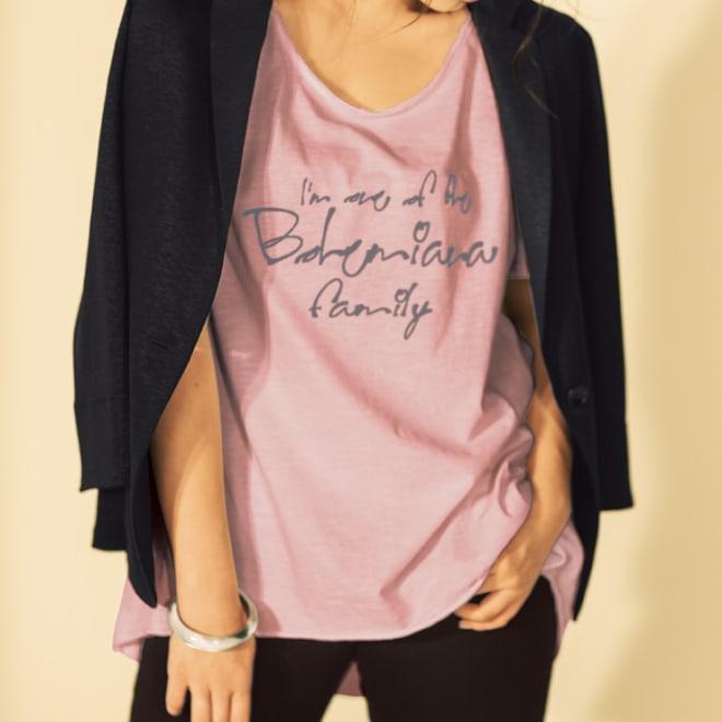 Bohemiana/ボヘミアーナ ロゴTシャツ(イタリア製) グレイッシュピンク コーディネート例