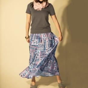 フランス製生地 ペーズリープリント ロングフレアスカート 写真