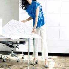 (股下丈63cm) フランス企画素材 ストレッチ セミフレアー 九分丈パンツ 写真