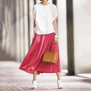 リネン ジャージー フレアースカート 写真