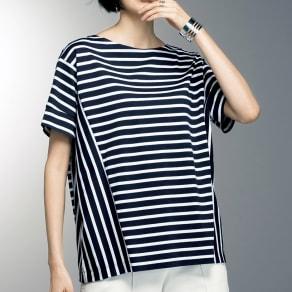 スビン綿 ボーダーデザイン Tシャツ 写真