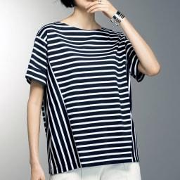 スビン綿 ボーダーデザイン Tシャツ 着用例