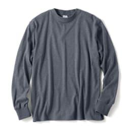 スッキリ袖リブ オーガニックコットンTシャツ 杢ネイビー