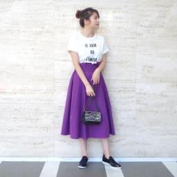 超長綿ボックス ロゴTシャツ コーディネート例