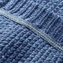 デニム調 鹿の子編み ショートカーディガン チェーンブレード部分