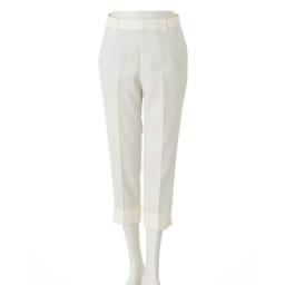 (股下丈63cm) 裾ダブル クロップドパンツ (ア)ホワイト  【股下丈58cm】