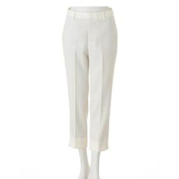 (股下丈63cm) 裾ダブル クロップドパンツ (ア)ホワイト  【股下丈63cm】