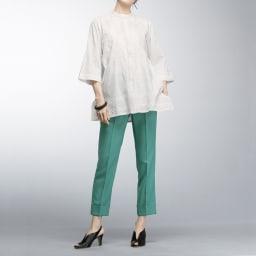 (股下丈63cm) 裾ダブル クロップドパンツ (イ)ピーコックグリーン コーディネート例