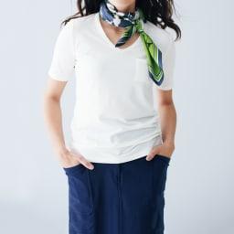 細コーデュロイ風 ジャージー スカート(サイズ64) コーディネート例