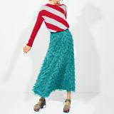 ヘリンボーンフリンジ シャギースカート 写真