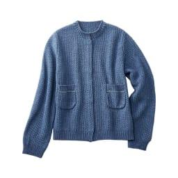 デニム調 鹿の子編み ショートカーディガン
