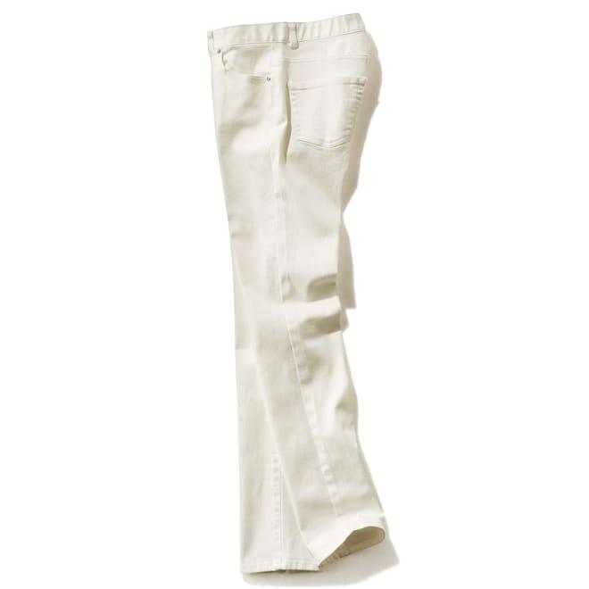 (股下丈68cm/フルレングス)スーパーストレッチ デニムパンツ ホワイト/フルレングス SIDE