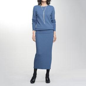 イタリア糸ニット リブニット ロングスカート 写真