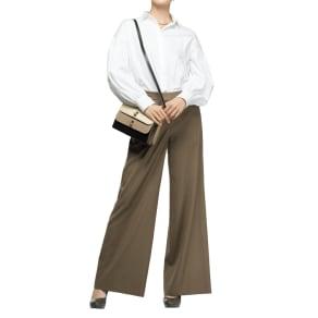 ウールレーヨン サキソニー ワイドパンツ (股下丈68cm)【2点以上で10%OFF】 写真