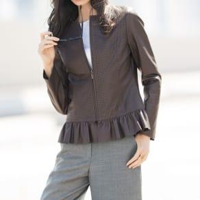 パンチング&裾フリル使い イタリアンラムレザー ジャケット 写真