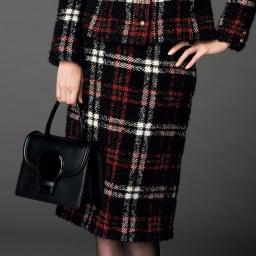 イタリア素材 チェックツイード スカート 着用例