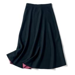 ダブルフェイス リバーシブル ニットスカート ブラック×ピンク(ブラック面)