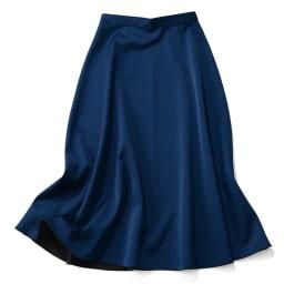 リバーシブルボンディング フレアスカート (イ)ブラック×ブルー [ブルー面] REVERSIBLE