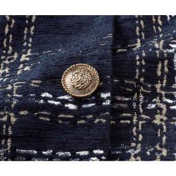 イタリア素材 チェックジャカード タイトワンピース ボタン部分