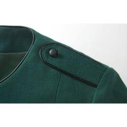 フェイクレザー使い ウール混 フレアー ワンピース 肩章