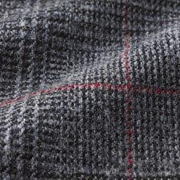 (股下丈59cm)微起毛素材 ワイド クロップドパンツ (ア)グレー系チェック 生地アップ